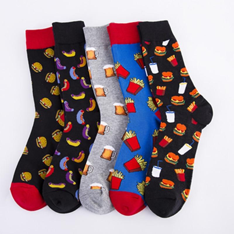 Colorful Hot Dog Hamburg Beer Pattern Novelty Crew Socks Men's Funny Food Kawaii Sokken Creative Casual Cotton Socks For Male