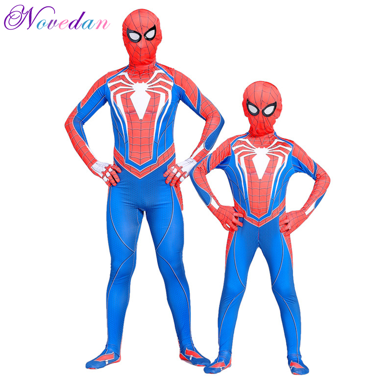 Spiderman Ps4 Costume Game 3D Print Halloween Bodysuit Suit  For Adult/Child Spiderman Cosplay Clothing