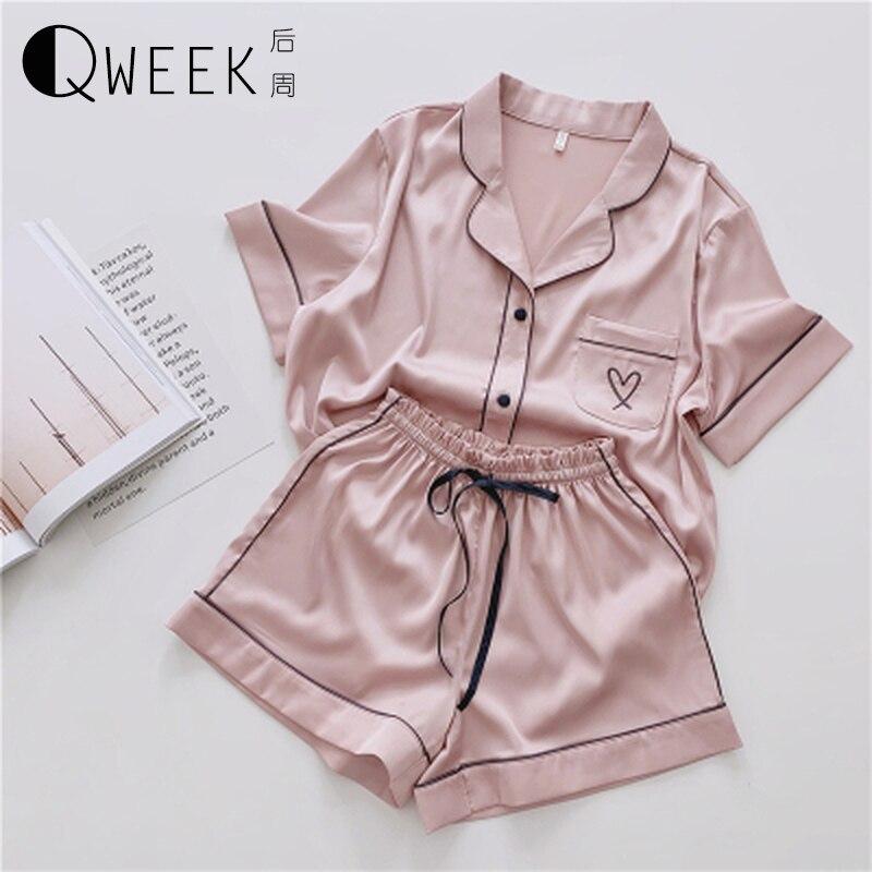 QWEEK Pajamas for Women Silk Home Wear Short Sleeve Loungewear Pyjamas Women Pijama Sleepwear Pj Set Satin Nightwear Set 2020(China)