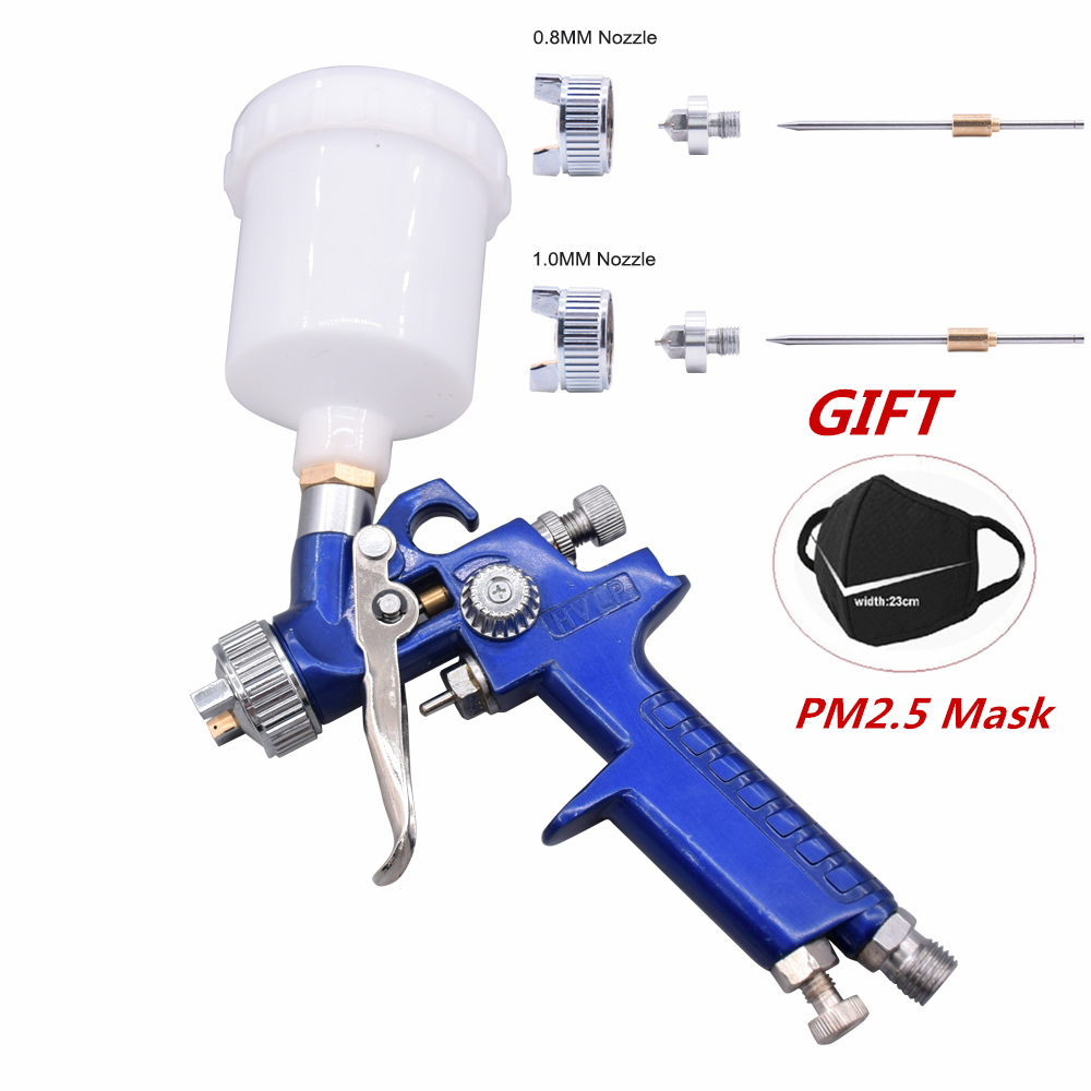 Big Discount H-2000 0.8mm 1.0mm Set HVLP Spray Gun Set Steel Nozzle DIY Cars Painting Furnitures Kit Car Auto Repair Tool