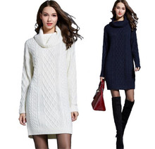 High Quality Fashion Winter Autumn Women Solid long Sleeve Turtleneck Sweater Pullover Long Thicken Knitted Dress Sweaters white hamaliel high quality autumn and winter sweater long dress 2018 fashion solid long sleeve knitted v neck bodycon dress with belt