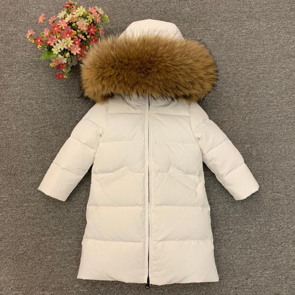 russia Boys girls down jacket Children's long down warm coat thick real fur