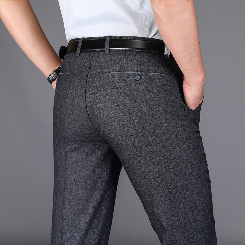 Summer Middle-aged Casual Pants Men High-waisted Loose-Fit Middle Aged And Elderly People Plus-sized Dad Suit Pants Ultra-Thin