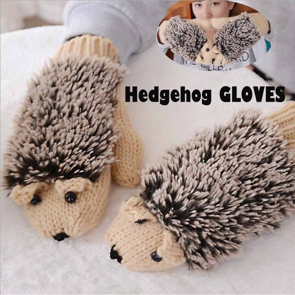 Are You Sure Not To Click In And See? Women Funny Winter Thicken Gloves Warm Knit Hedgehog Gloves Outdoors Purchasing Wholesaler