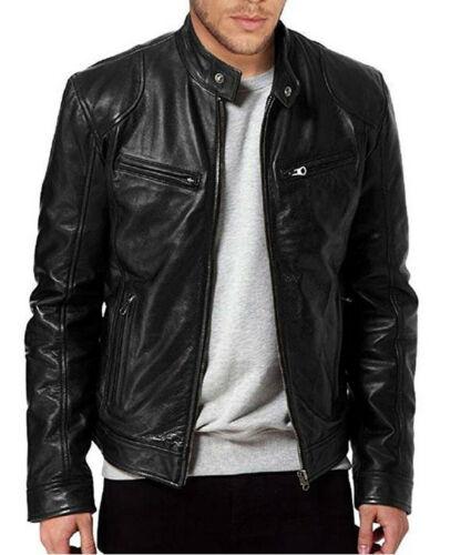 UK Men Lambskin Leather Jacket BLACK & BROWN 2019 New Fashion Man Winter Warm Slim Fit Zipper Biker Jacket Coat Streewear