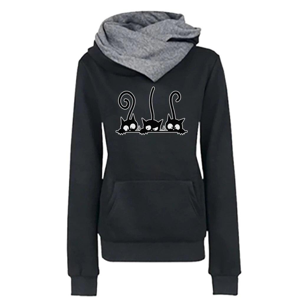Hoody Women Casual Cat Printing Long Sleeve Pullover Shirts Tops Blouse Sweatshirt Female Tops Hoodie Sweatshirt Women #D8