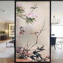 Индивидуальные наклейки на окна в китайском стиле для ванной комнаты, спальни, балкона, матовое украшение, самоклеящаяся стеклянная пленка