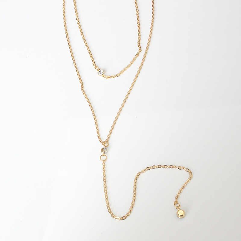 2019 ใหม่ Multi-layered ยาวสร้อยคอสร้อยคอสร้อยคอผู้หญิงที่มีเสน่ห์ Gold สีเครื่องประดับคริสตัลจี้สร้อยคอ ND119