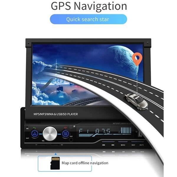 Radio de Audio estéreo para coche de 7 pulgadas 1 reproductor de MP5 Din con pantalla de prensa plegable receptor AM/FM Bluetooth GPS auxiliar USB SD SWC + una copia de seguridad Ca - 4