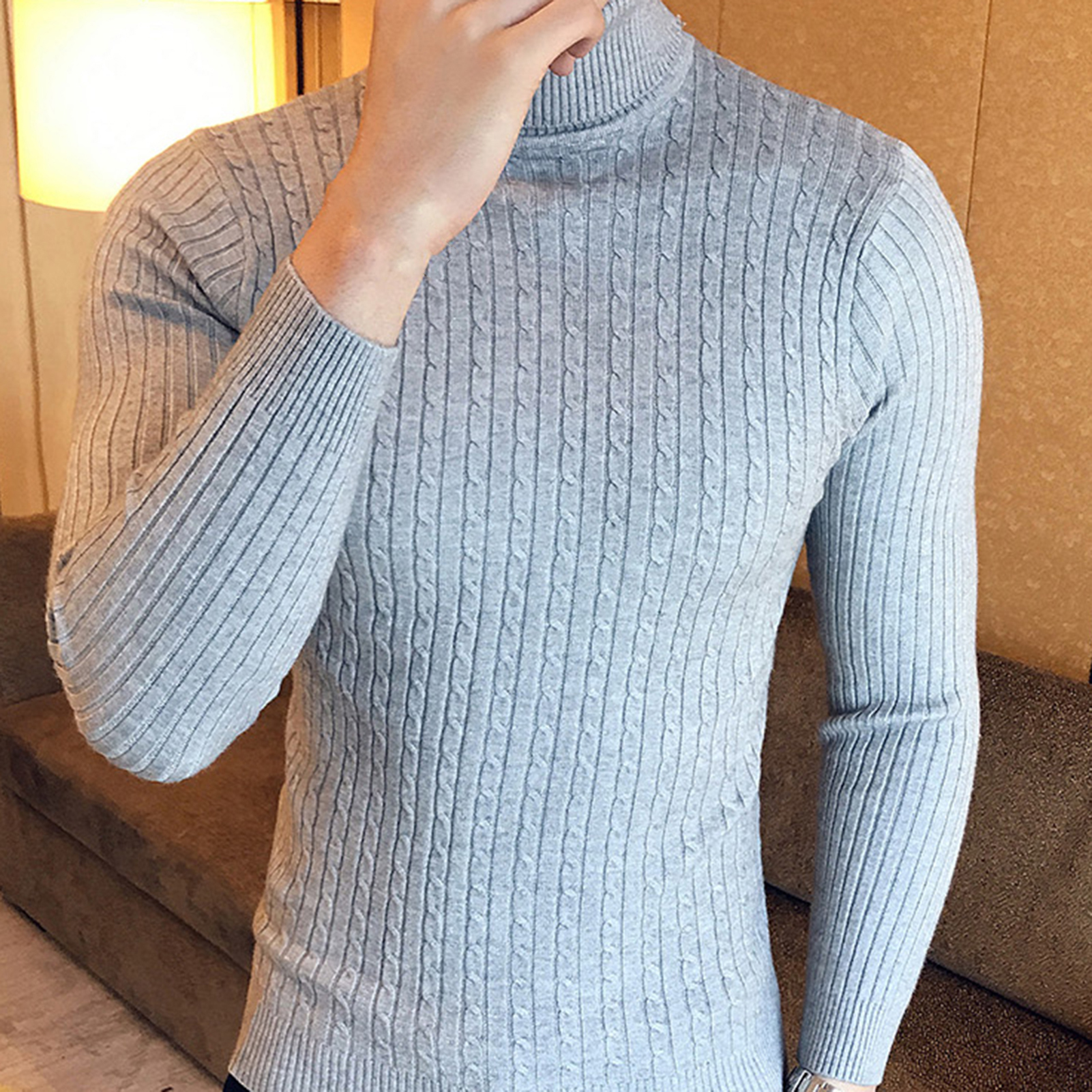 2020 New Autumn Winter Men'S sweater Men's Turtleneck Solid Color Casual Sweater Men's Slim-Fit Knitted Pullovers 5