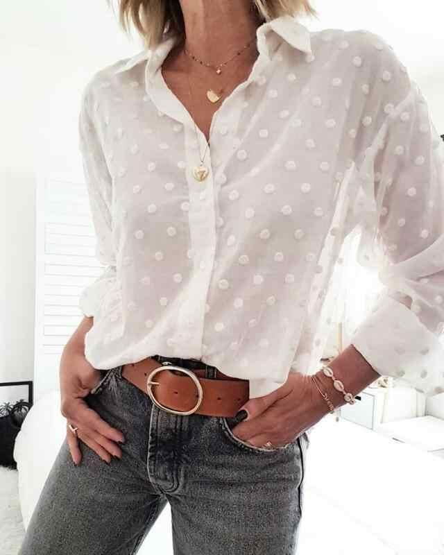 Moda feminina outono manga comprida dot malha escritório camisa senhoras v-neck tops blusa