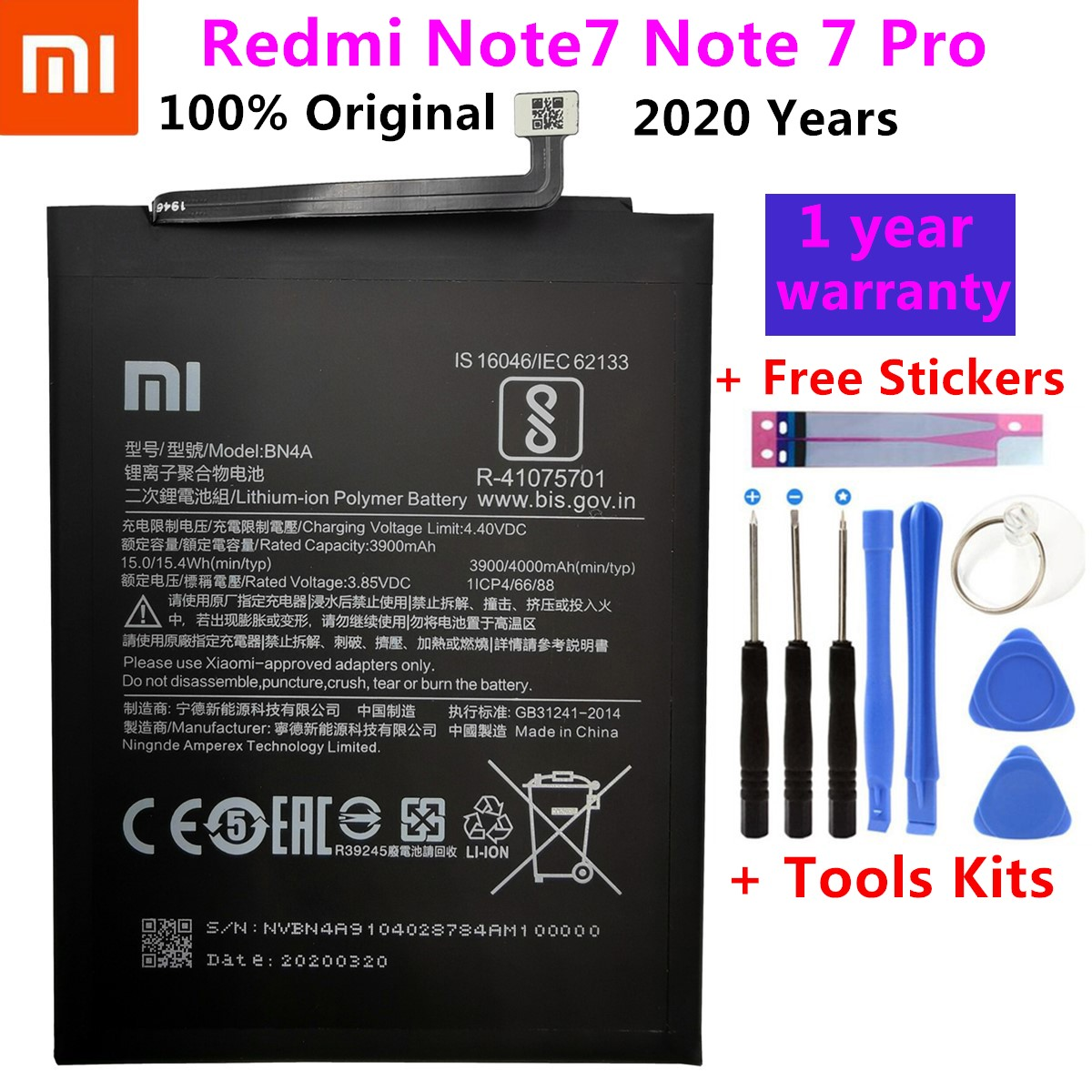 Original Replacement Battery For Xiaomi Redmi Note7 Note 7 Pro M1901F7C BN4A Genuine Phone Battery 4000mAh+ Free Tools