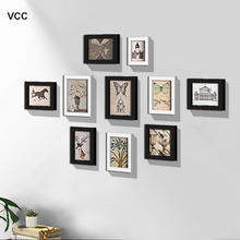 10Pcs Wood Picture Frame For Wall Hanging Photo Frame For Hallway Living Room Home Decor Family Frame For Pictures 100pcs paper photo frame set picture mats mini wooden clips string hanging cardboard picture frame for home room wall decor diy