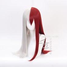 My Hero Academia Todoroki Shoto Women Long Wig Cosplay Costume Boku no Hero Academia Red and White Hair Halloween Party Wigs