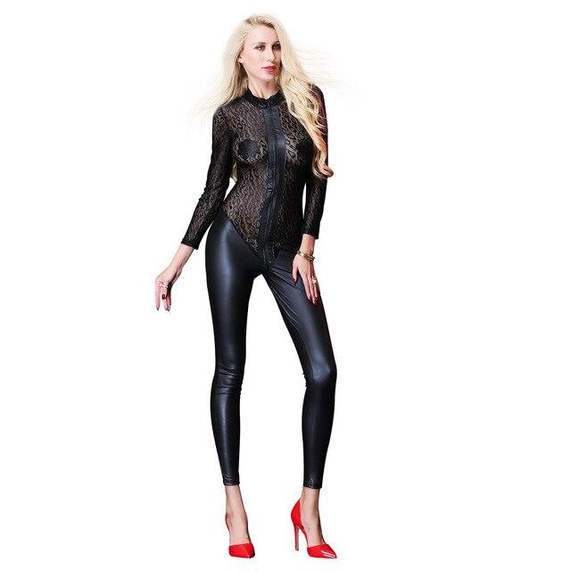 Plus Size Zipper Bodystocking  4