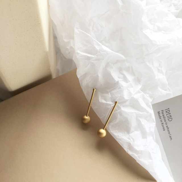 Simply Jewelry Matte Golden Earrings Single Bar With Ball Drop Earrings For Women Jewelry Girl Student.jpg 640x640 - Simply Jewelry Matte Golden Earrings Single Bar With Ball Drop Earrings For Women Jewelry Girl Student Gifts