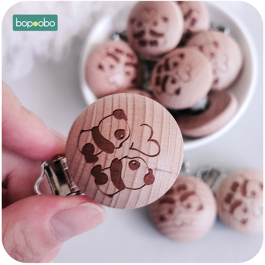 Bopoobo 1pc Wooden Pacifier Clip Panda Soother Clip Chewable Teething Diy Food Grade Beech Wood Baby Teether Nursing Products