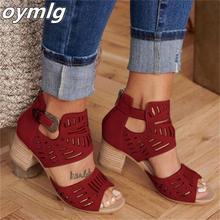 Sandalias Vintage ahuecadas tacón medio de verano calzado de mujer con hebillas de Punta abierta Artificial zapatos informales de boda Sandalias de mujer