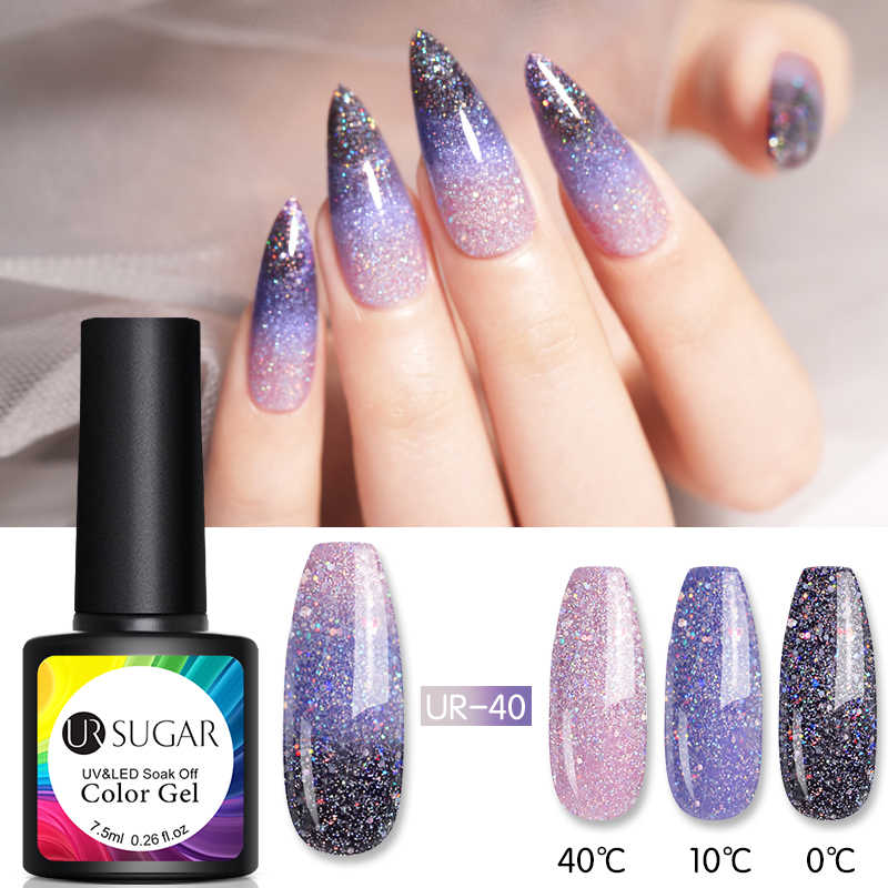 UR Gula 7.5 Ml Thermal Glitter Gel Suhu Berubah Warna Uv Gel Varnish Rendam Off UV LED Gel Nail art Pernis