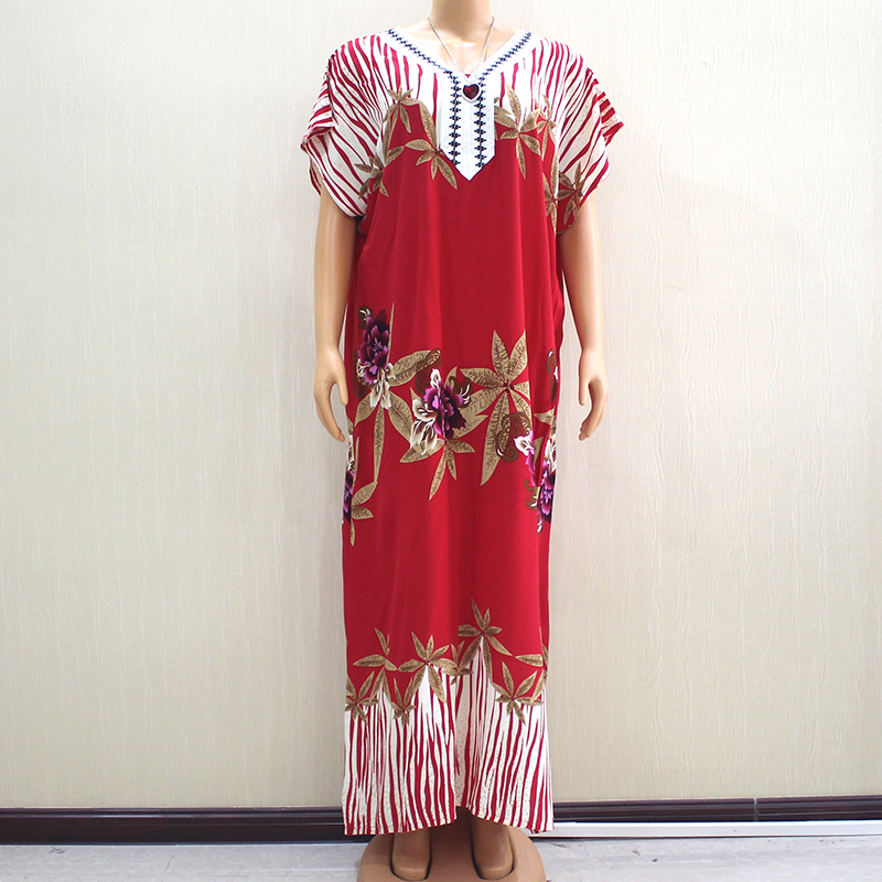 2019 Fashion New Arrival Wonderful Red 100% Cotton Appliques V-Neck Short Sleeve Long Dress African Dashiki Long Dress