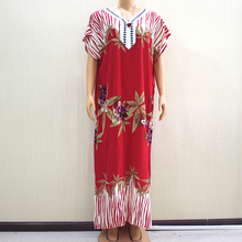 2019 mode nouveauté merveilleux rouge 100% coton Appliques col en v à manches courtes robe longue africaine Dashiki longue robe