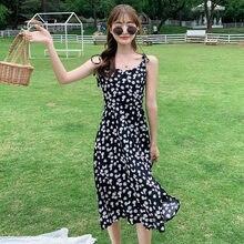 Женское шифоновое черное платье комбинация миди с цветочным