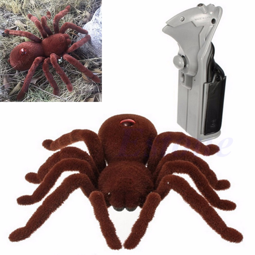 New Scary Remote Control Creepy Soft Plush Spider Infrared RC Tarantula Toy Kid Gift
