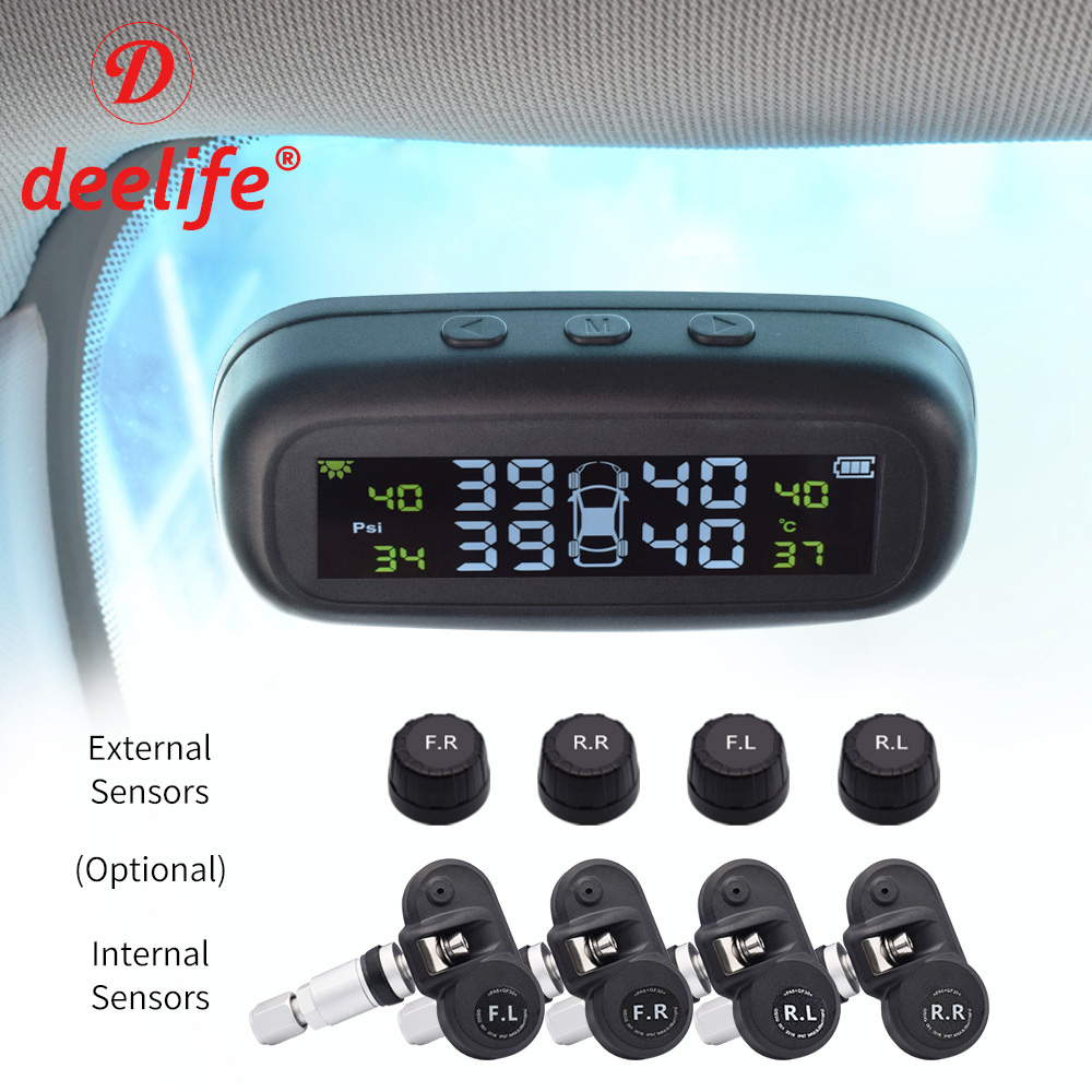 Smart Car TPMS Tyre Pressure Monitoring System Alarm Solar TMPS Control 4 Wheel Internal External Wireless Tire Pressure Sensor