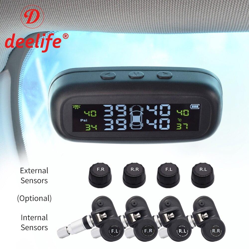 Deelife tpms carro sistema de monitoramento pressão dos pneus sensor externo interno solar tmps rodas controle sem fio alarme pressão dos pneus