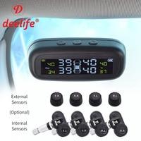 Smart Car TPMS Tyre Pressure Monitoring System Alarm Solar TMPS Control 4 Wheel Internal External Wireless Tire Pressure Sensor