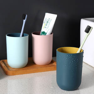 Two-tone Mouth Cup Bathroom Brushing Drinking Water Cup Simple Plain Color Household Toothbrush Washing Cup Bathroom Tumblers