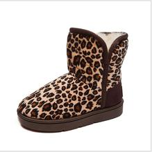 Winter Fashion Boys Girls Leopard Boots Print Thicken Villi Super Warm Plush Shoe Kids Unisex Snow Anti-Slip Shoes