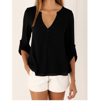 2020 Women Shirts Summer Autumn Casual V-neck Chiffon Blouse Women Tops And Blouses Long Sleeve Black White Ladies Blouse Shirt spring and autumn new 2019 chiffon shirt women s tops long sleeve v collar chiffon office printed women s blouses shirt 932i