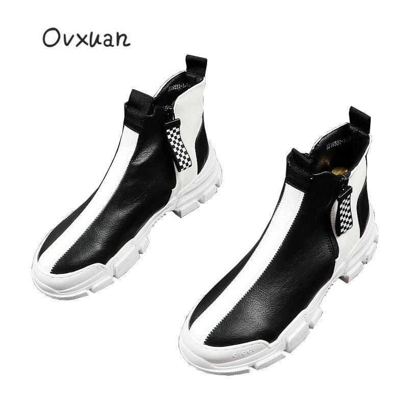 2019 Элитный бренд Для мужчин модные высокие кроссовки черный, белый цвет клетчатый полусапожки Повседневное высокая обувь Для мужчин для от... - 1