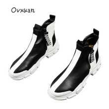 2019 Luxury Brand Men Fashion High Top Sneakers Black White Checkered Short Boots Casual High Shoes Men Leisure Microfiber Shoes