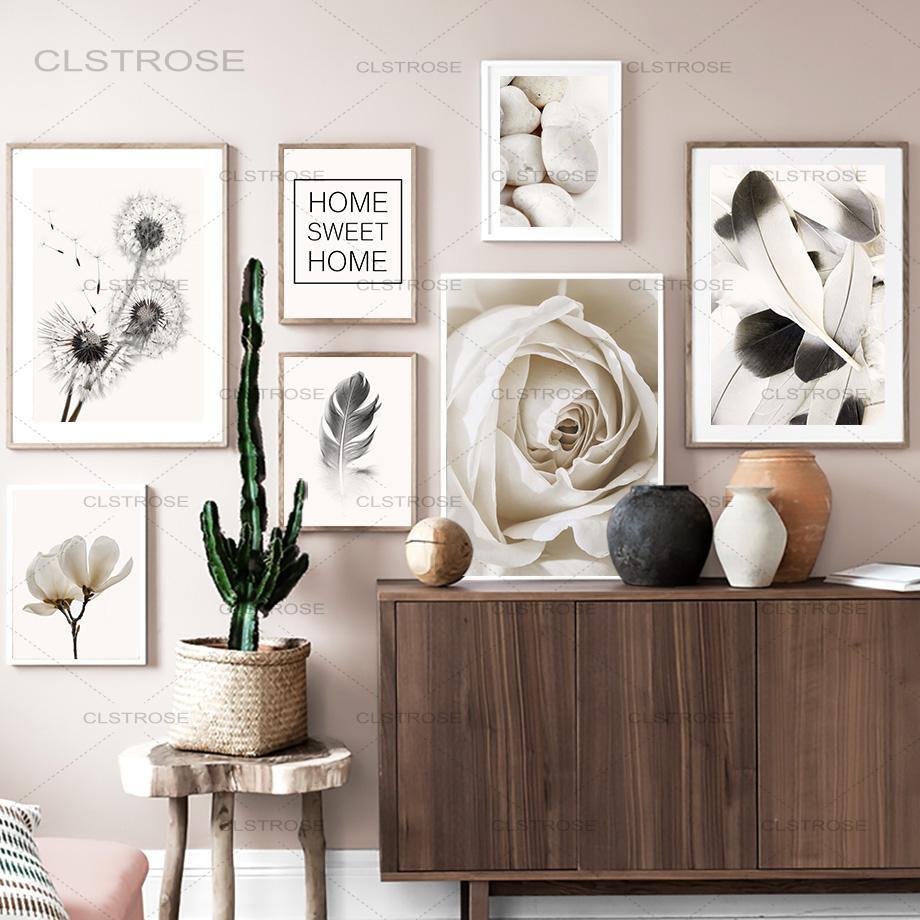 Настенная картина с изображением одуванчика из белых роз, цветов и перьев, настенные картины на холсте в скандинавском стиле, настенные кар...