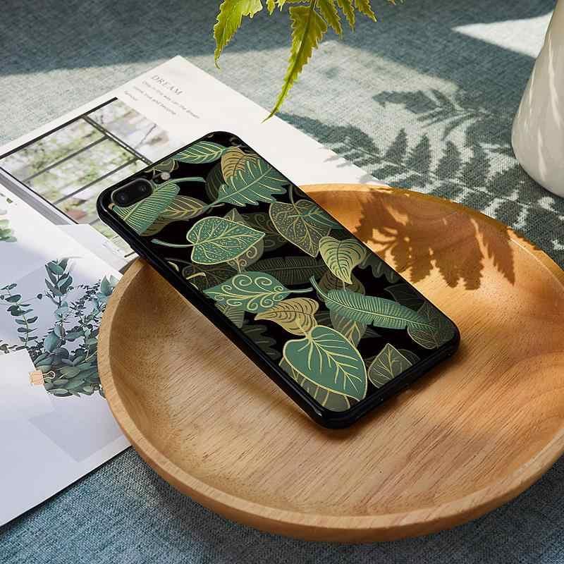 Tropical Banana Leaf สำหรับ iPhone XS Max XR ซิลิโคนสำหรับ iPhone X XS 6 6S 7 8 Plus Coque Funda