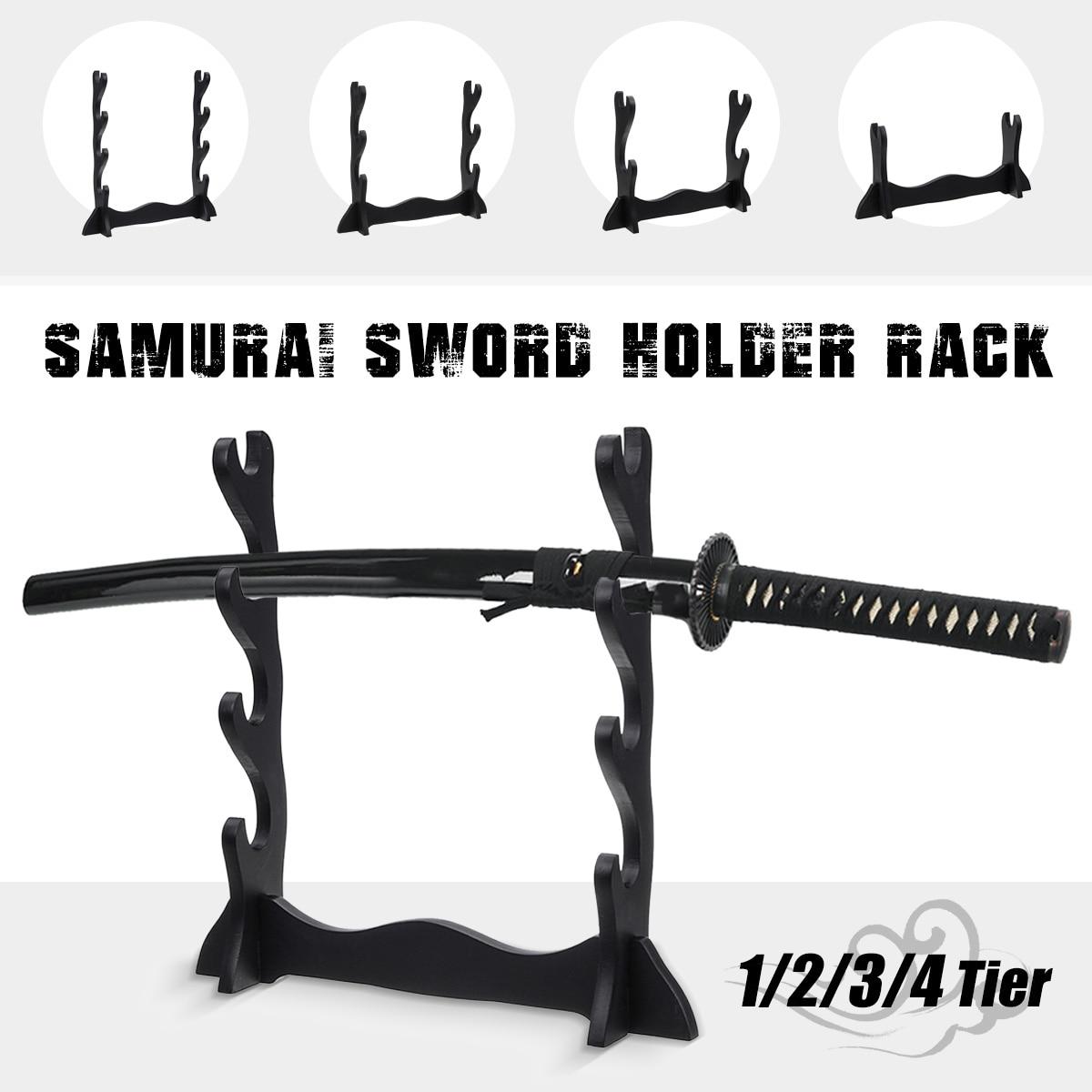 Wall-mounted 1/2/3/4-Tier Samurai Sword Holder Wakizashi Katana Holder Stand Hanger Bracket Rack Display Home Decor Decoration