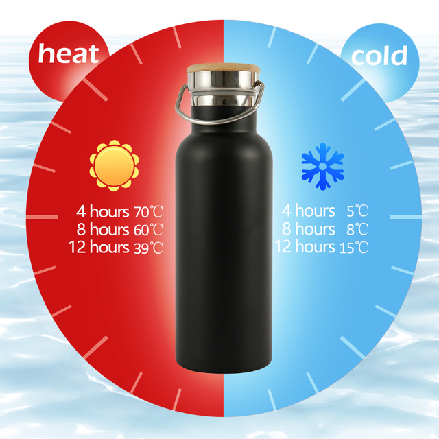 500/750/1000ML Portable Stainless Steel Water Bottle Bamboo Lid Sports Flasks Leak-proof Travel Cycling Hiking Camping Bottles 5