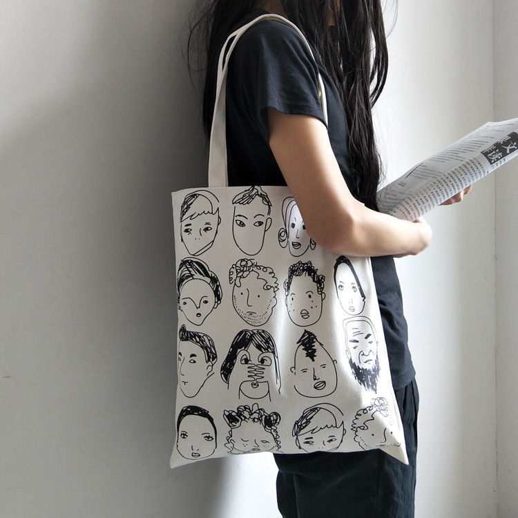 Illustration Canvas Bag Personality Students' Supply Zipper Convenient Storage  Tutorial Bag Lovely Stationery