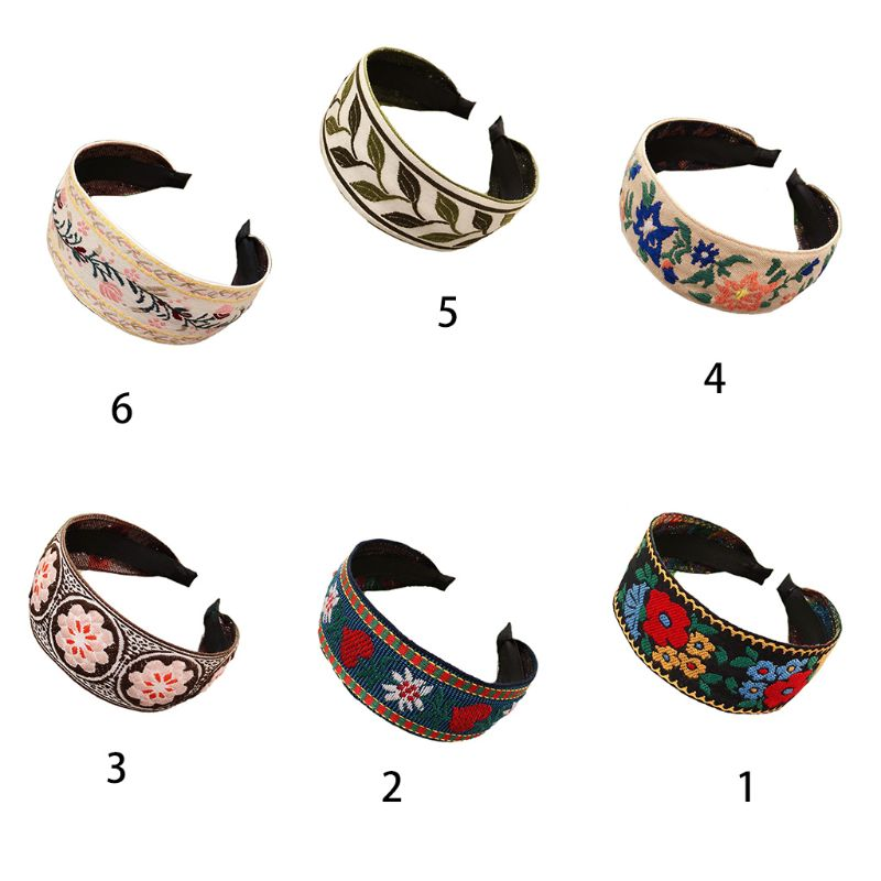 Ethnic Style Women Wide Headband Colorful Floral Embroidered Vintage Hair Hoop LX9E