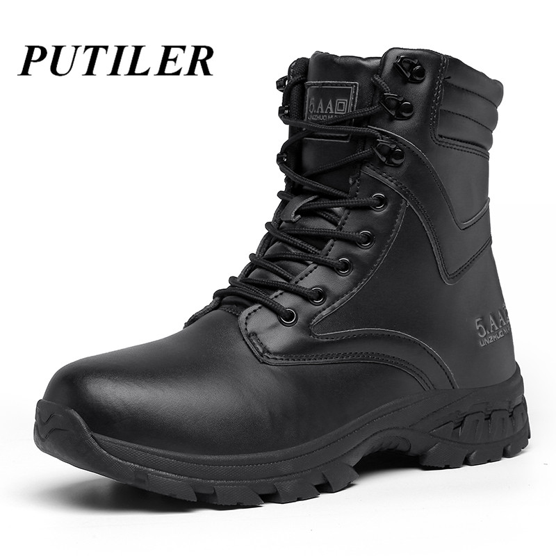 Black Military Ankle Boots Men Work Shoes Casual 2020 Snow Hunting Tactical Boots Waterproof Leather Lace Up Botas Militares Bot|Basic Boots| - AliExpress