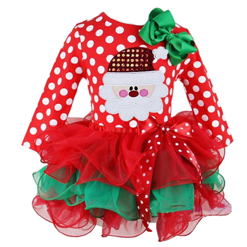H10796c9bfae342b6bcf4a303368c712d5 New Year Baby Girl Christmas Dress Girl's Merry Christmas Dress Children Kids Cotton Dot Dress Girls Tutu Santa Clus Costume