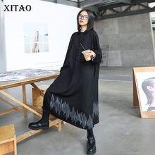 XITAO robe de grande taille mode nouvelles femmes unique poitrine impression motif pleine manches 2020 automne élégant robe minoritaire DZL1661