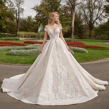 Adoly Mey Gorgeous Appliques Court Train A-Line Wedding Dresses 2020 Romantic Scoop Neck Cap Sleeve Vintage Bride Gown Plus Size