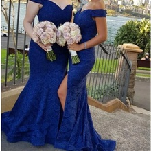 YiMinpwp Royal Blue Mermaid Bridesmaid Dresses Off Shoulder