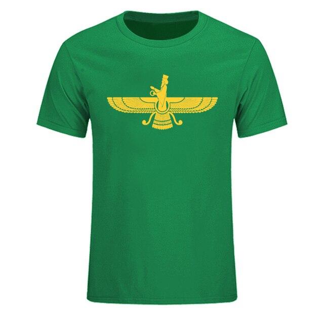New Short Sleeve Farvahar Iran Persia Symbol Men T Shirt Iranian Persian Zoroastrian Men Cotton Tshirt Top Tee Plus Size