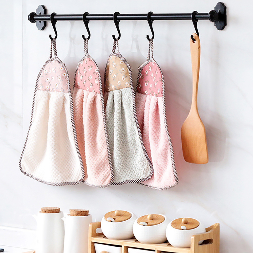Kitchen Hanging Towels kitchen Dish Cloth Super Soft Velvet Towel Absorbent Cleaning Cloth Hanging Bathing Towel For Children