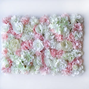 Image 2 - 60*40CM Artificial Flowers Wall Hanging Flower Head Silk Rose Floral For Wedding Backdrop