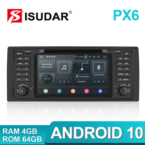 Image 1 - Isudar PX6 Android 10 Hexa Core 1 Din Auto Radio Für BMW 5 Series E39 CANBUS Auto Multimedia Video DVD player GPS Navigation DSP